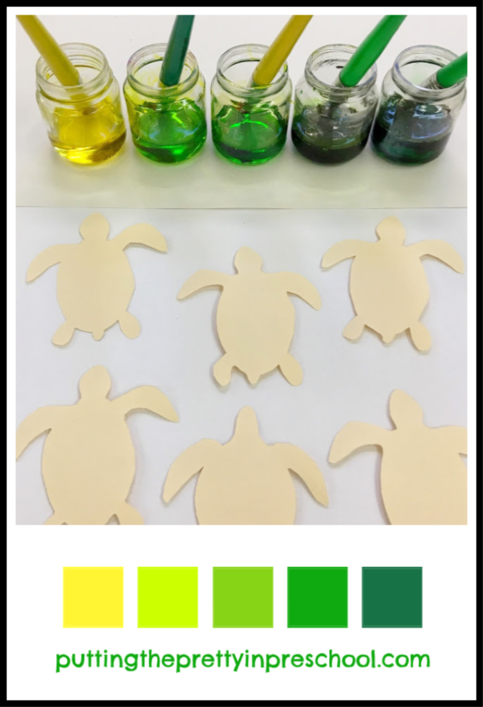 White corn syrup paint colors and turtle hatchling tagboard shapes. An all-ages painting activity.