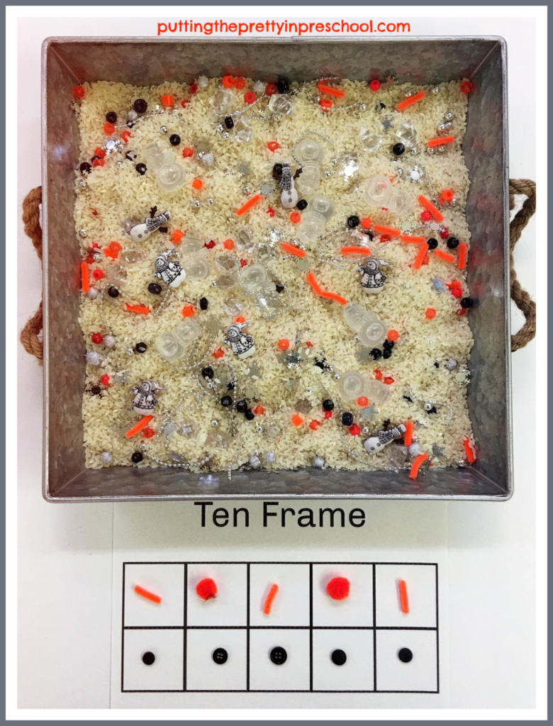 Snowman themed ten frame activity using rice bin supplies. Snowmen buttons and ice cubes with loose parts sprinkled in are ready to count in this math prompt.
