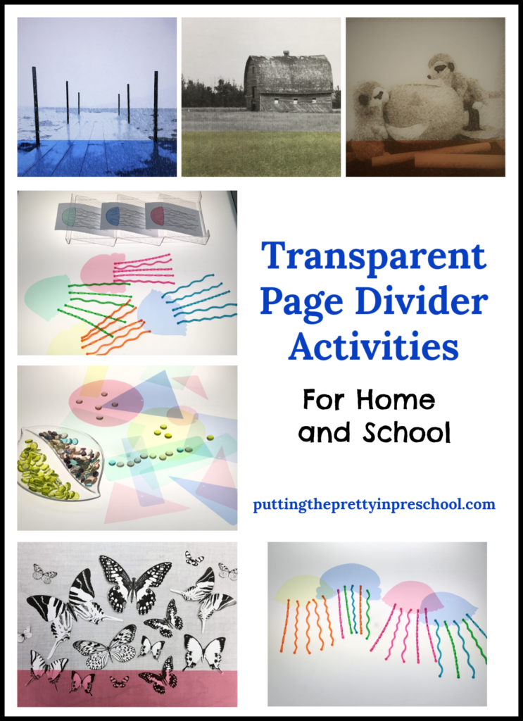 Transparent page divider activities. Art, science, and photography ideas that are suitable for all ages.