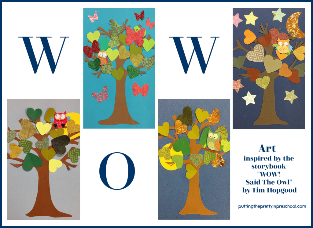 """Tree art bulletin board idea inspired by the storybook """"Wow! said The Owl"""" by Tim Hopgood."""
