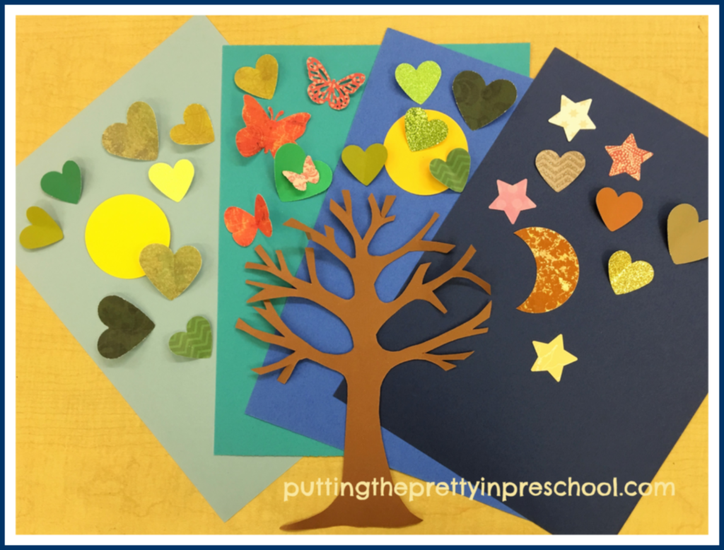Paper supplies to make the tree art pictures. An all-ages book inspired art activity.