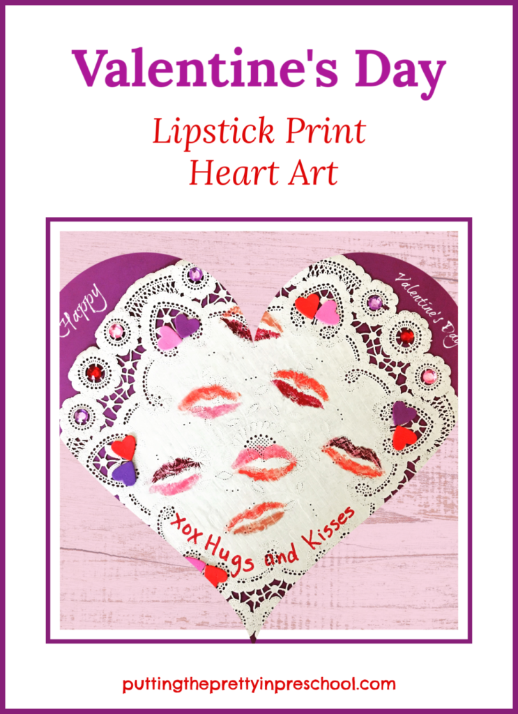 Valentine's Day heart art picture. A paper craft lipstick print valentine with a personal touch. This project is fun for all ages to make.