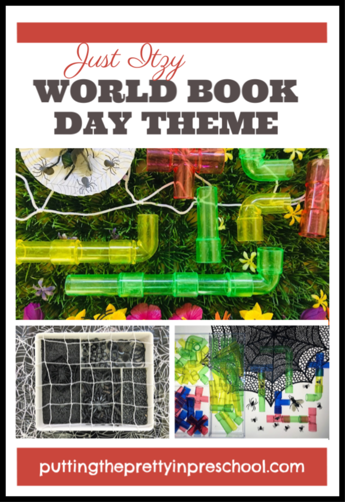 World Book Day Just Itzy storybook theme. Spider sensory and small world activities for young children.
