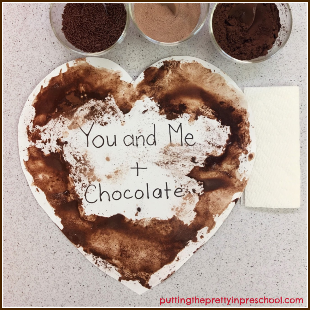 A paper towel can be used to soak up excess water and add texture to a chocolate painting.