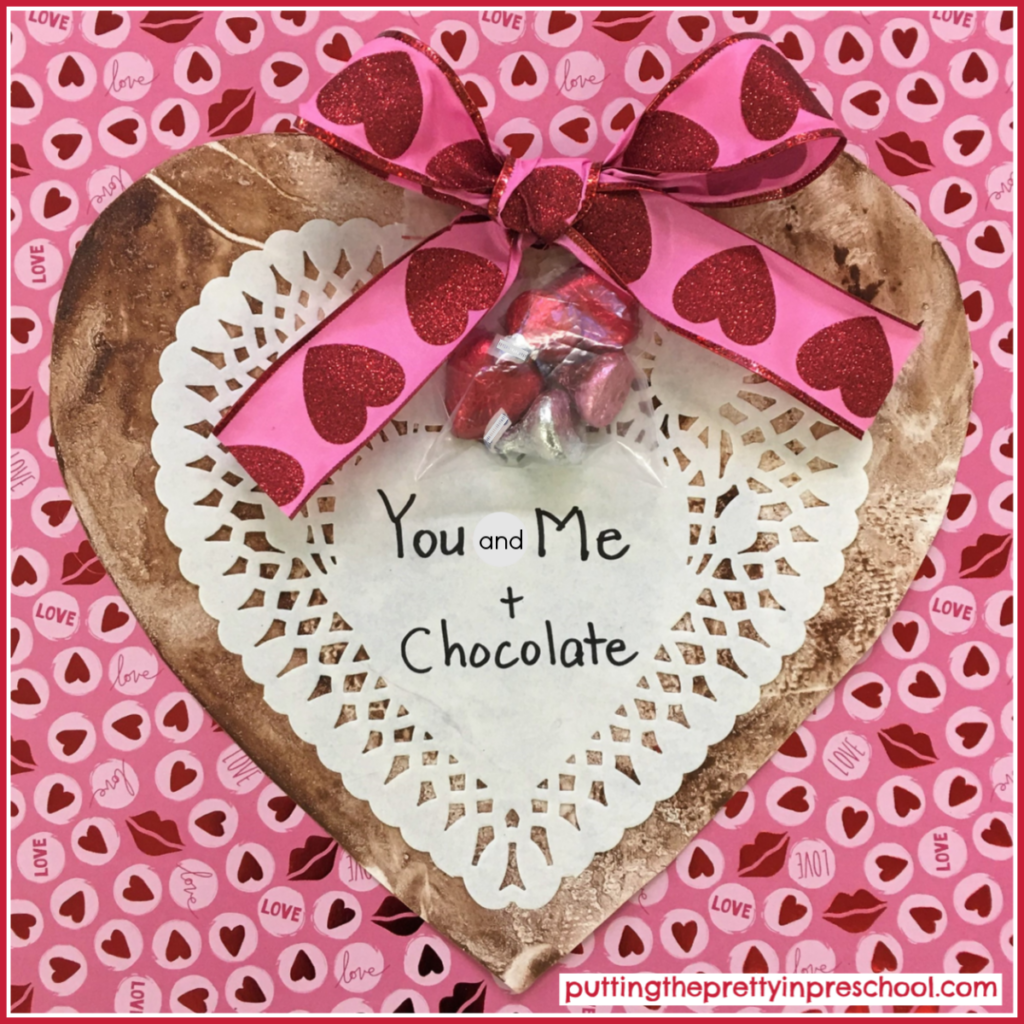 Chocolate heart painting added to a valentine to give away.