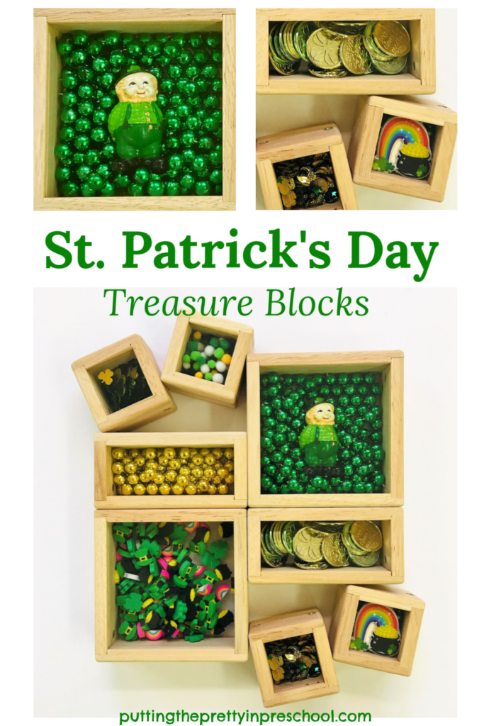 St. Patrick's Day treasure blocks featuring a leprechaun and shamrock themed craft supplies and coins.