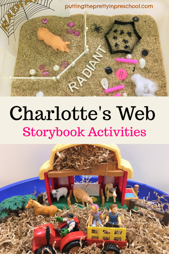Charlotte's Web storybook activities. Sensory tubs, crafts, and games for children. Art, math, and language arts opportunities to learn.