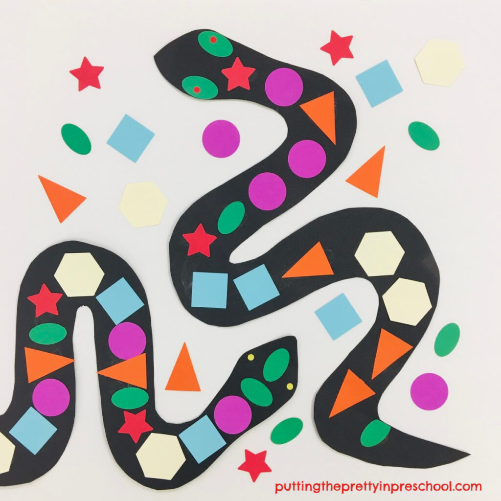 Geometric shapes snake craft suitable for all ages.