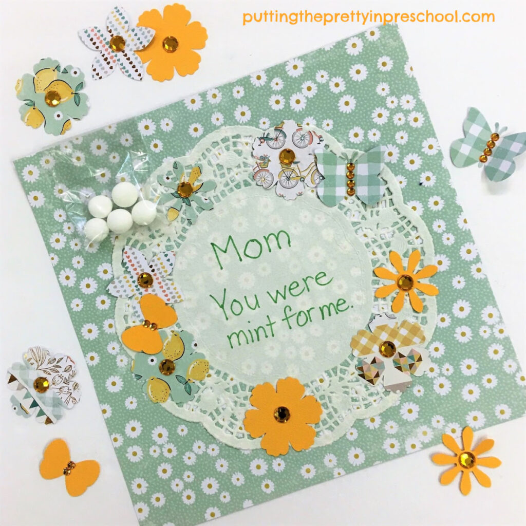 Mother's Day craft featuring mint themed punched paper shapes.