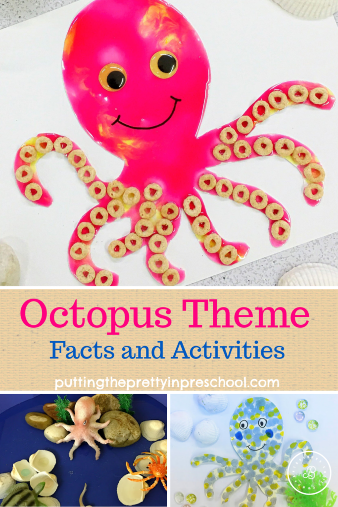 Octopus theme facts, crafts, and small world play. The stunning feature art activity uses kitchen supplies. Art and science fun with learning for all ages.
