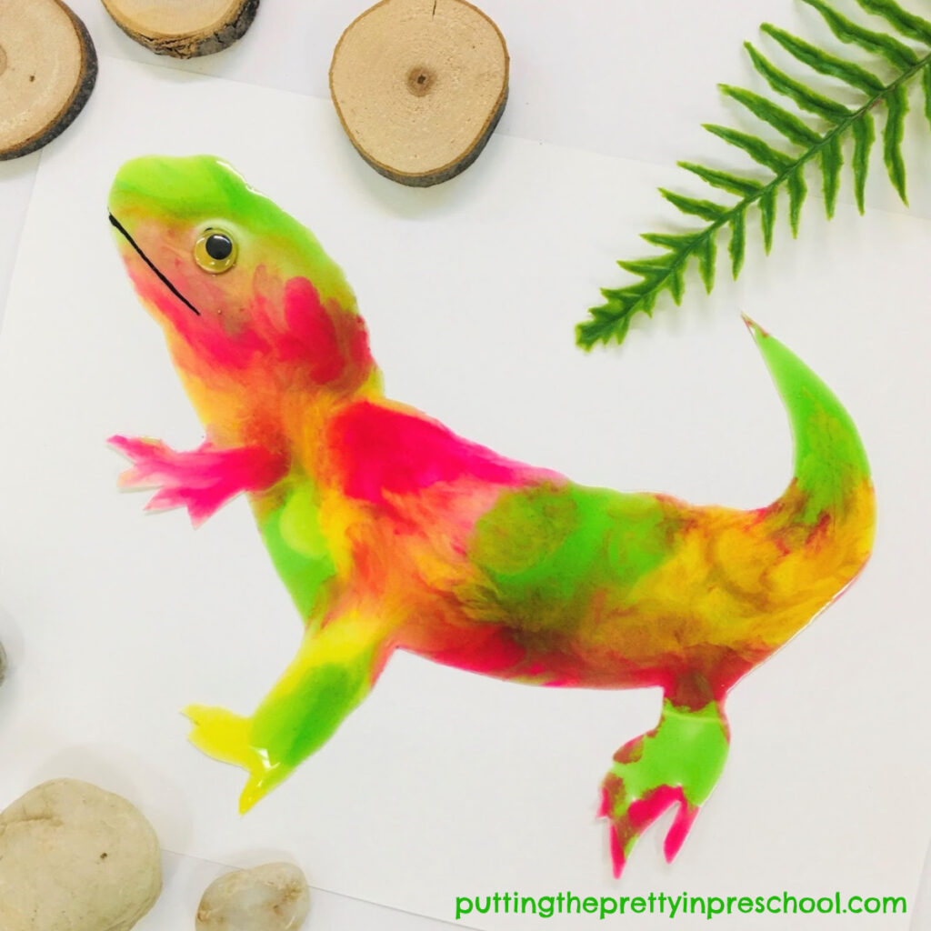 Lizard decorated with taste-safe paint. An all-ages craft.