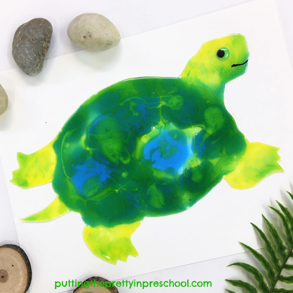 Turtle decorated with taste safe paint. An all-ages art activity.