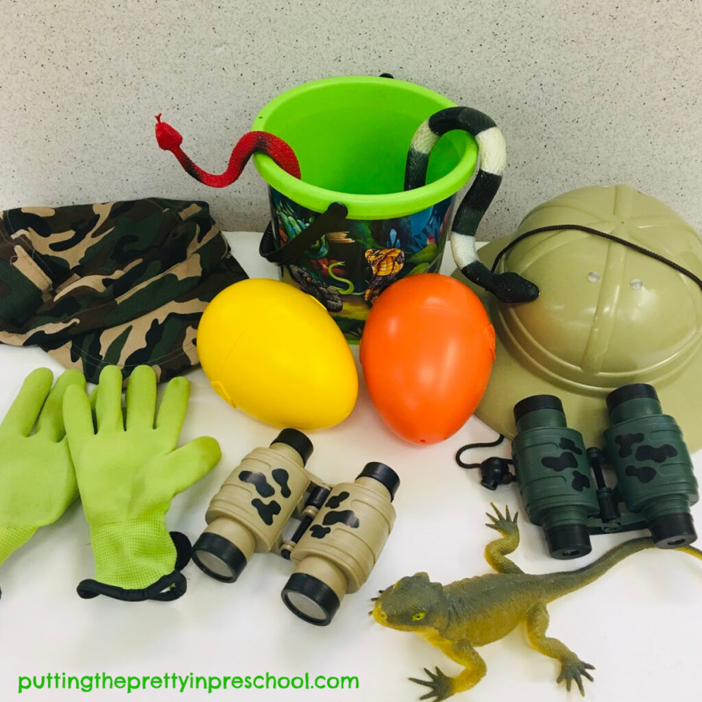 Reptile-themed prop box toys for pretend play.