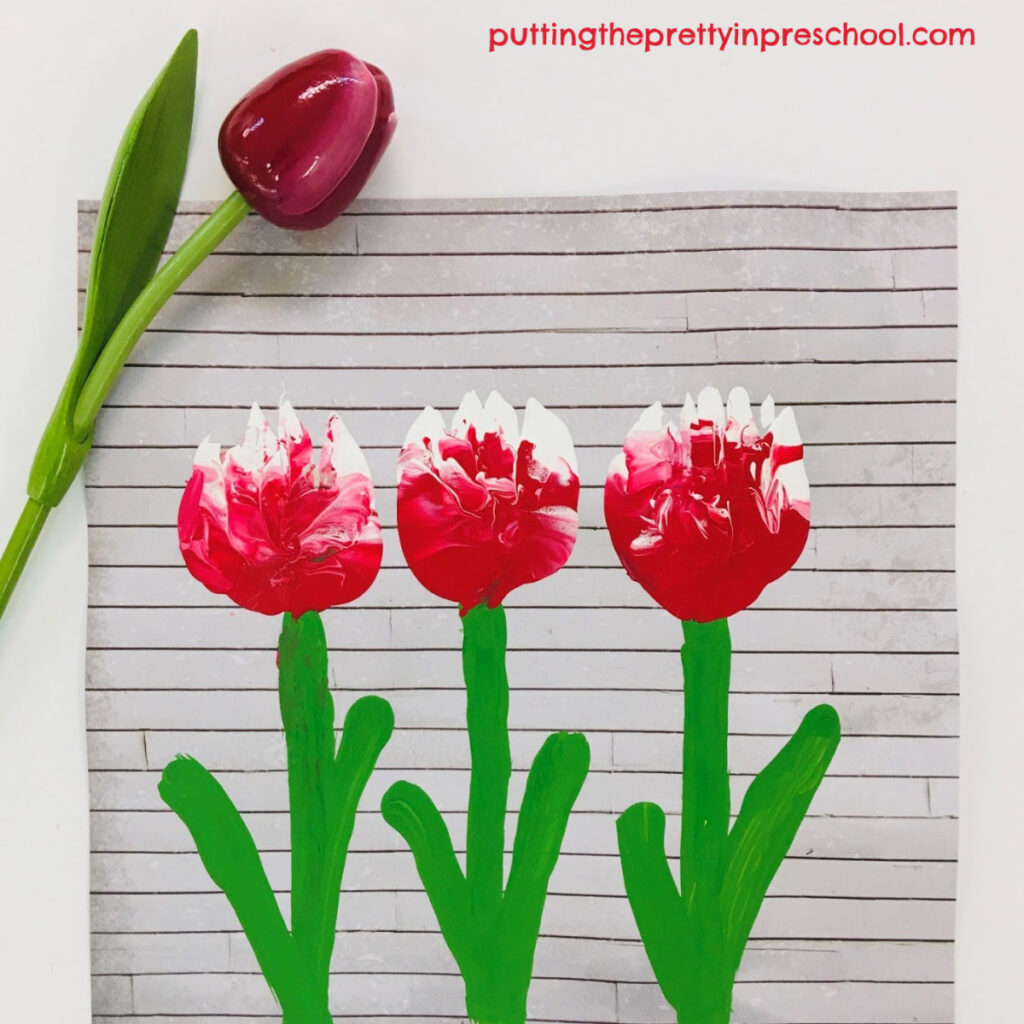 Tulip art painting project inspired by the Canada 150 tulip, the Canadian Tulip Festival, and a rustic tissue box. An all-ages art activity the whole family can do.
