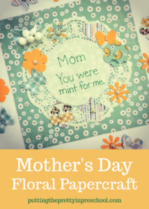 Mother's Day keepsake craft featuring mint themed punched paper shapes. An all-ages project bound to make any mother or grandmother feel special.