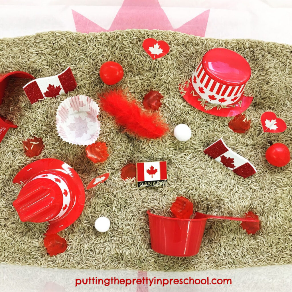 Canada Day rice based sensory bin with red and white items perfect for little hands to explore.