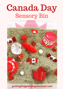 Canada Day rice-based sensory bin with red and white items perfect for little hands to explore.