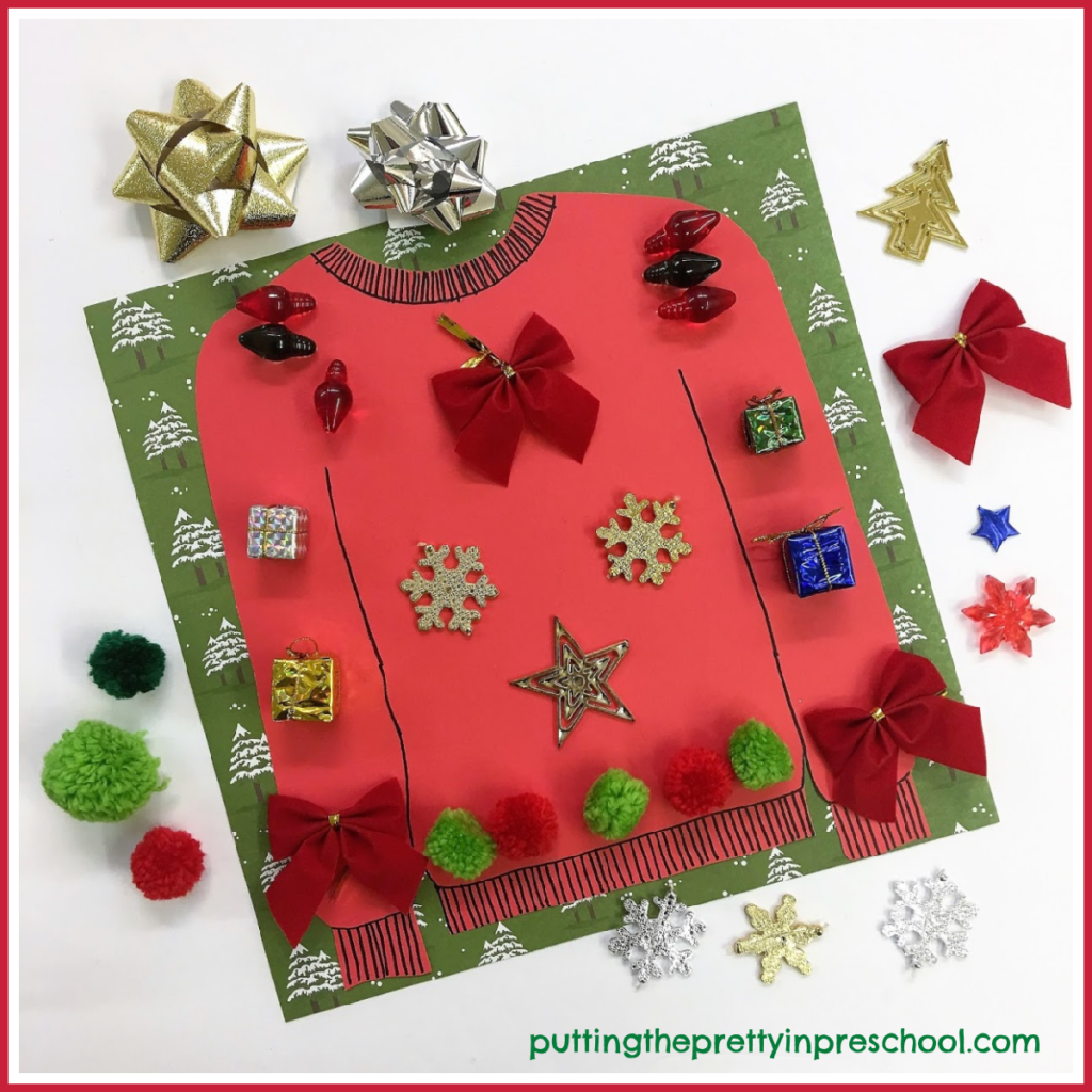Invitation to decorate a Christmas sweater with festive loose parts.
