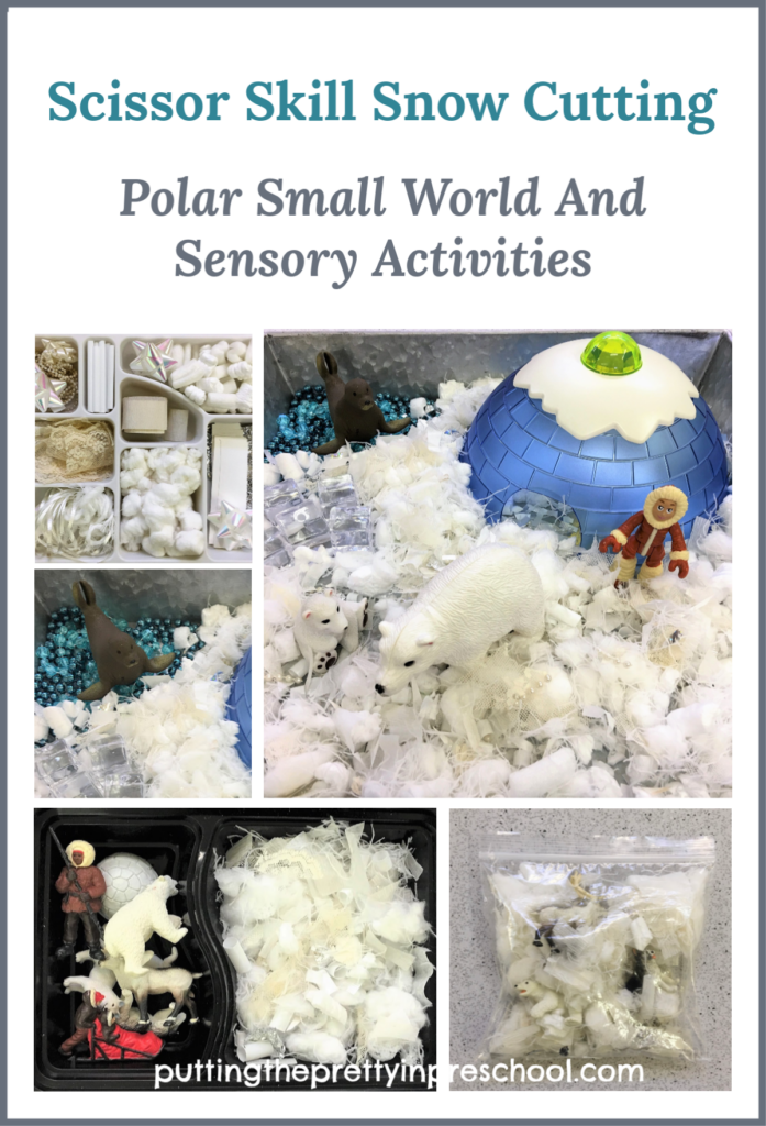 Invitation to cut craft supplies to make fake snow. The snow is featured in small world and sensory activities. Scissor skill practice for early learners.