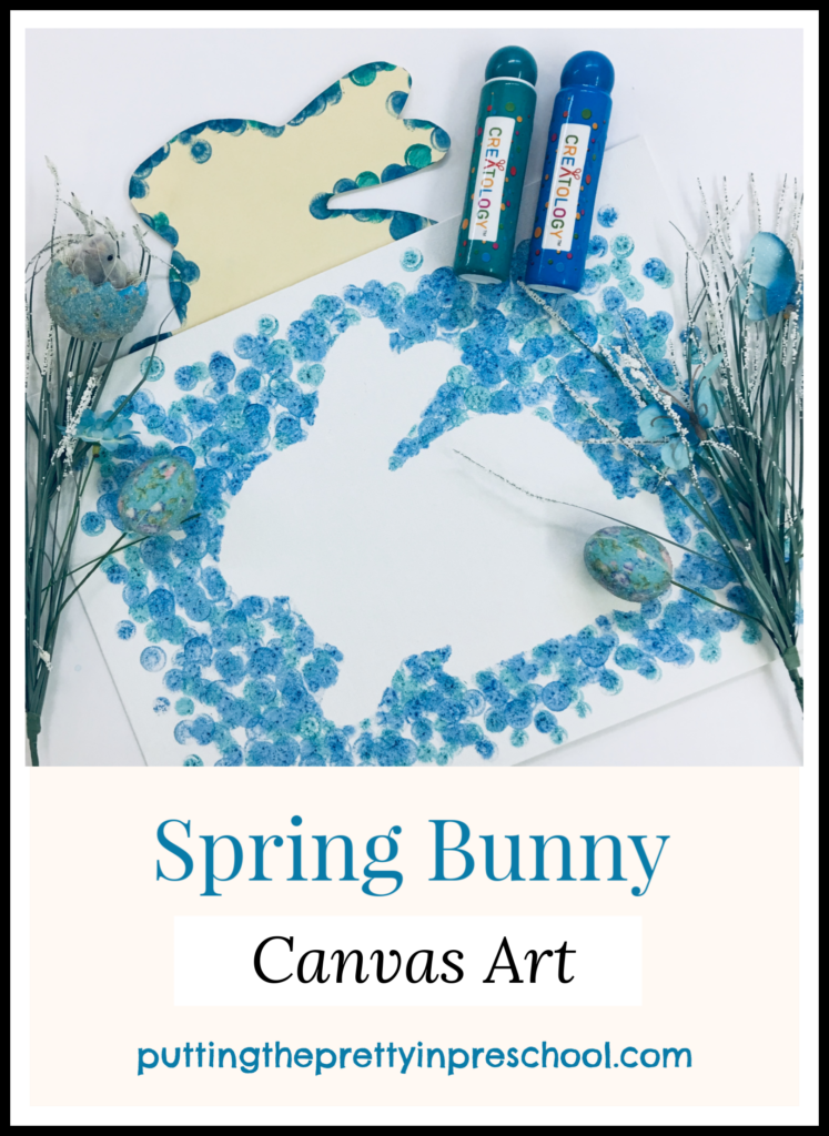 Spring bunny canvas art with paint dabber technique. An easy to do all-ages art activity.