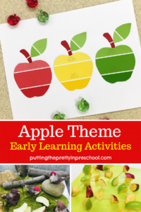 Apple themed art, sensory and baking ideas for early learners.