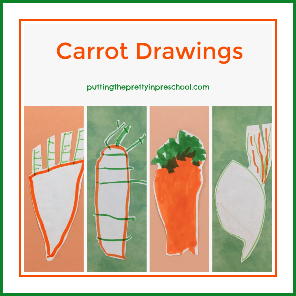 Carrot drawings completed by preschoolers.