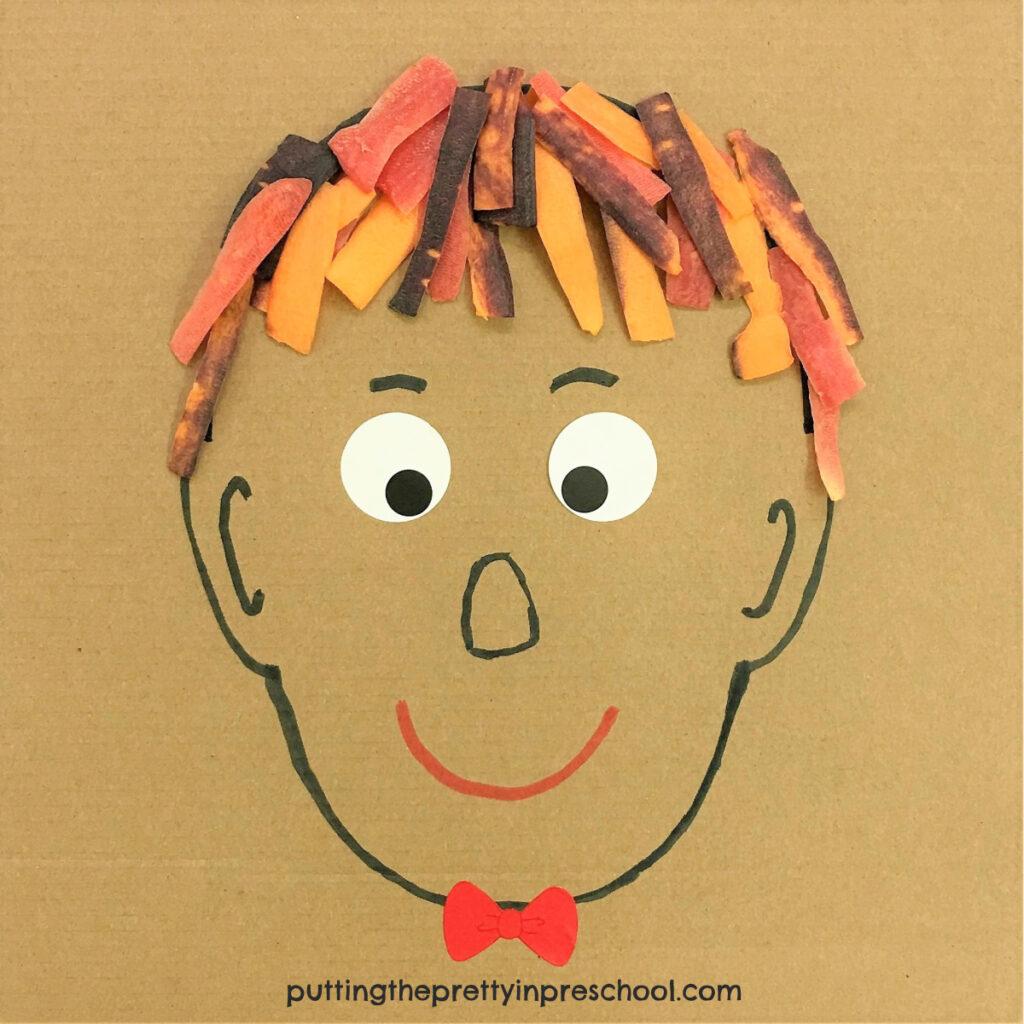 Rainbow carrot hair portrait. An all-ages art activity.
