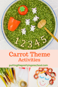 Carrot theme sensory, art, and baking activities.