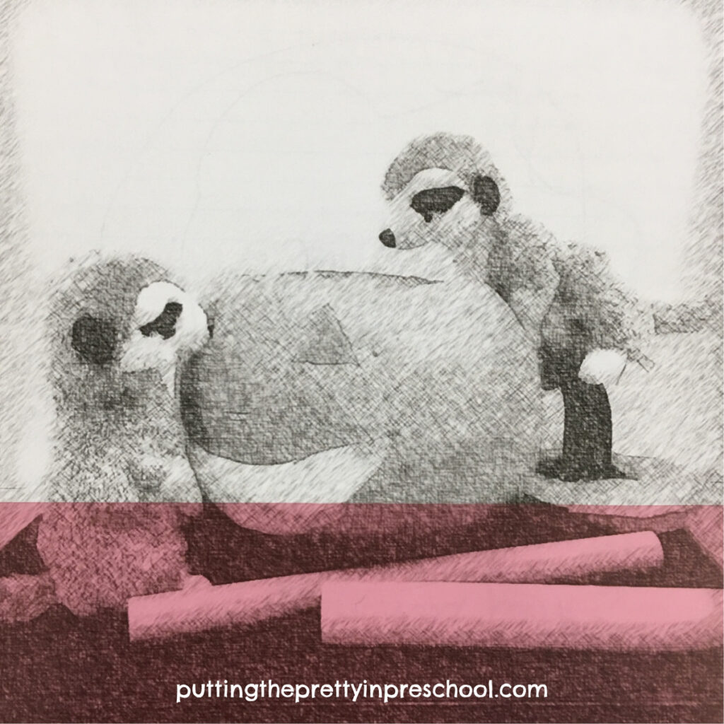 Sketch Art picture of meerkats looking into a pumpkin enhanced with a transparent page divider strip.