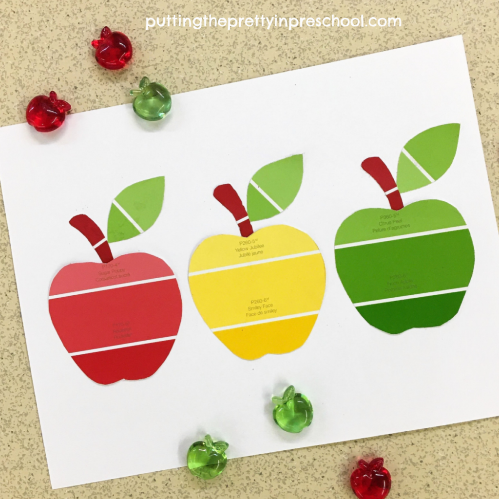 Paint chip apple collage art