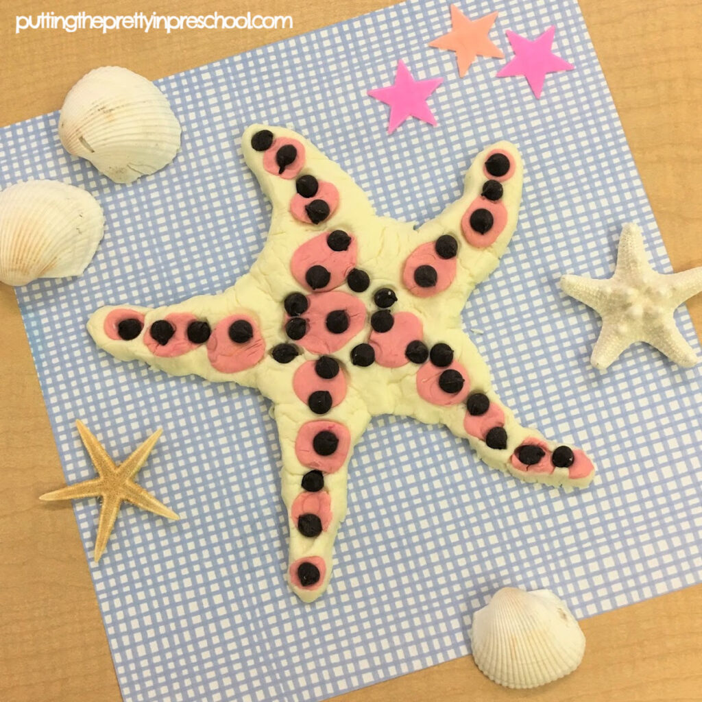 Chocolate chip sea star made with taste safe playdough.