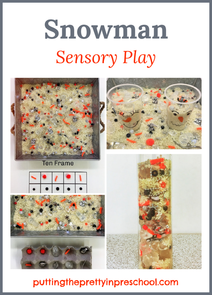 Snowman themed sensory play. Rice bins, sensory tube, and ten frame activities for early learners. Free printable included.