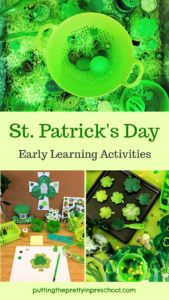 St. Patrick's Day activities for the early childhood classroom. Sensory tray, writing center, and dramatic play center ideas included.