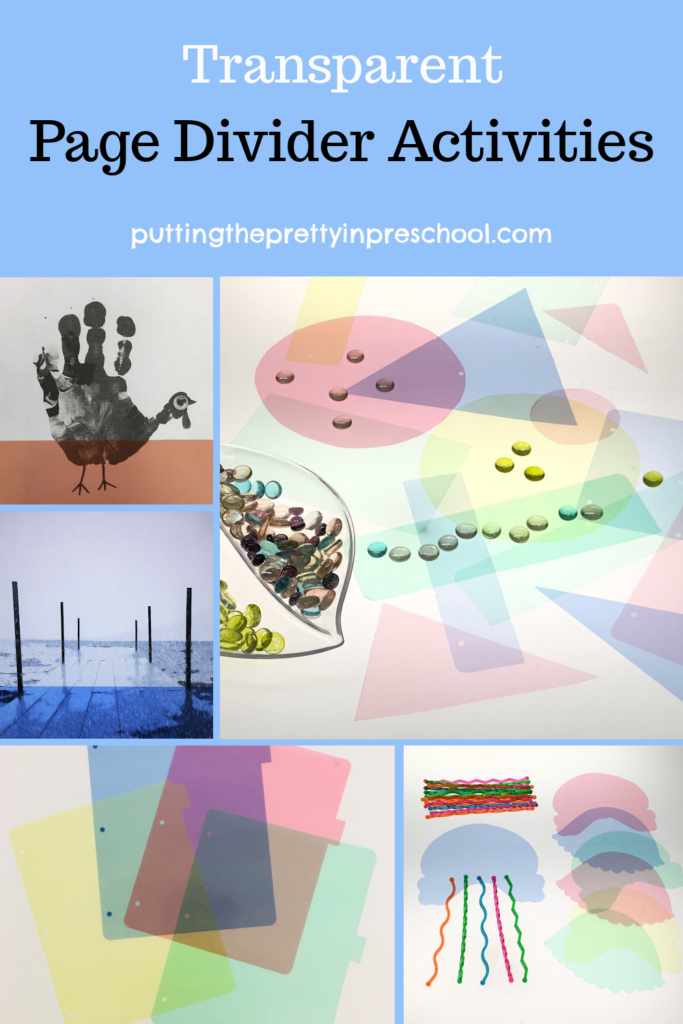 Transparent page divider activities. Art, science, math, and photography ideas that are suitable for all ages.
