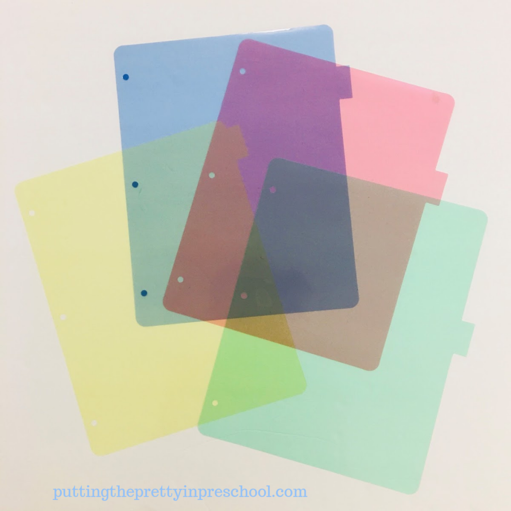 Transparent page dividers used in math, science, art, and photography activities with children.