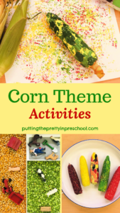 Corn theme activities perfect for autumn. Sensory and art setups inspired by a corn maze.