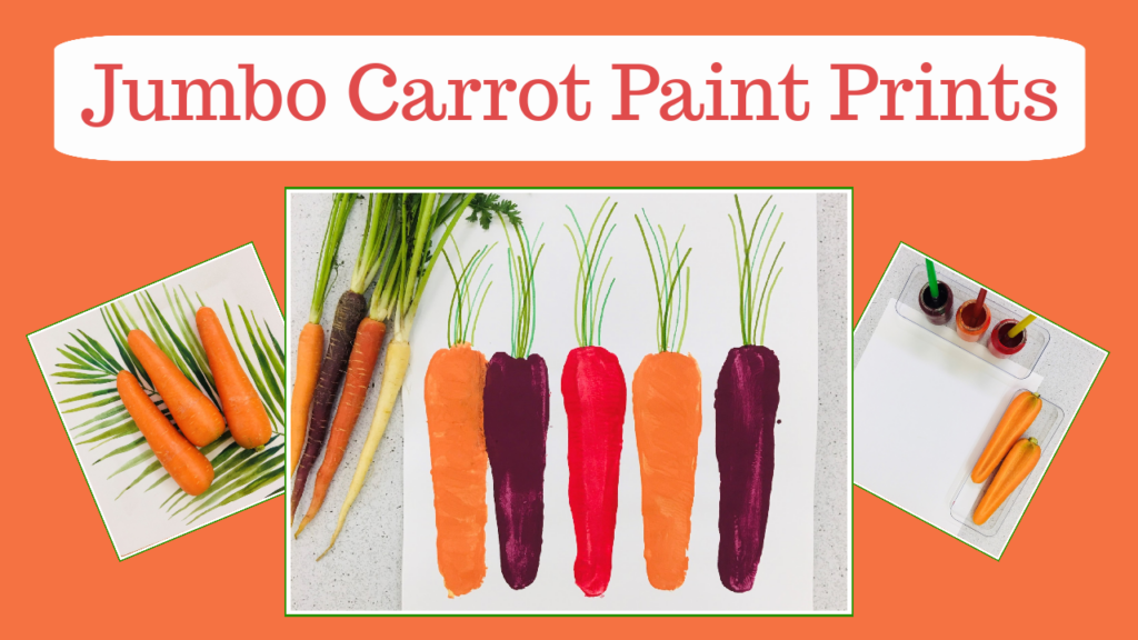 Printmaking with jumbo carrots. The paint colors used are inspired by rainbow carrots. This is an all-ages art activity.
