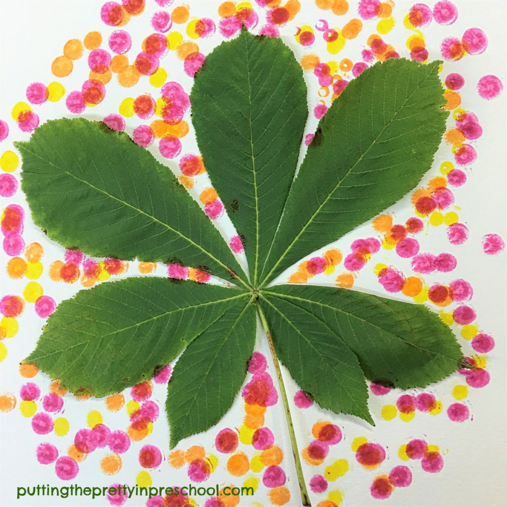 Horse chestnut leaves are perfect for dot marker art.