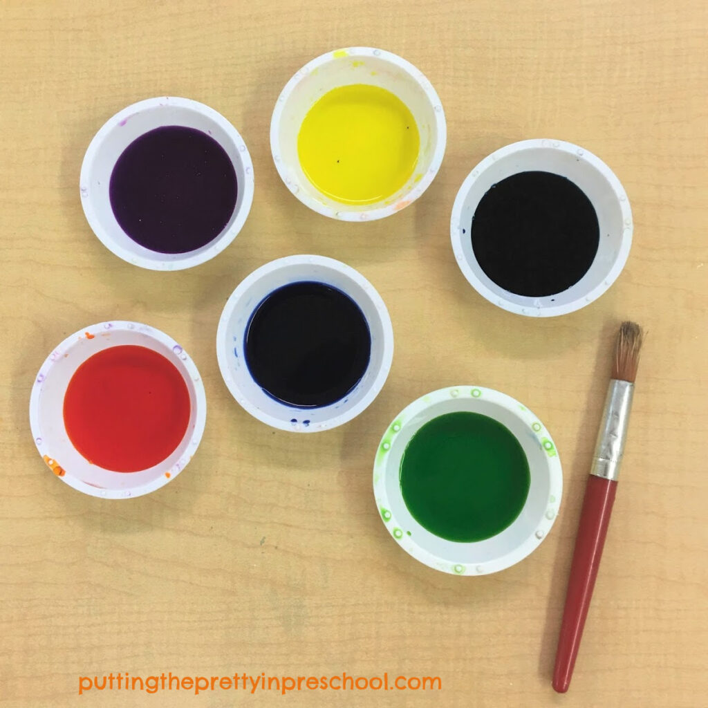 Liquid watercolors for painting toilet paper roll monsters.