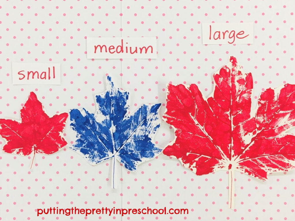 Leaf size ordering with different sized maple leaf paint prints.