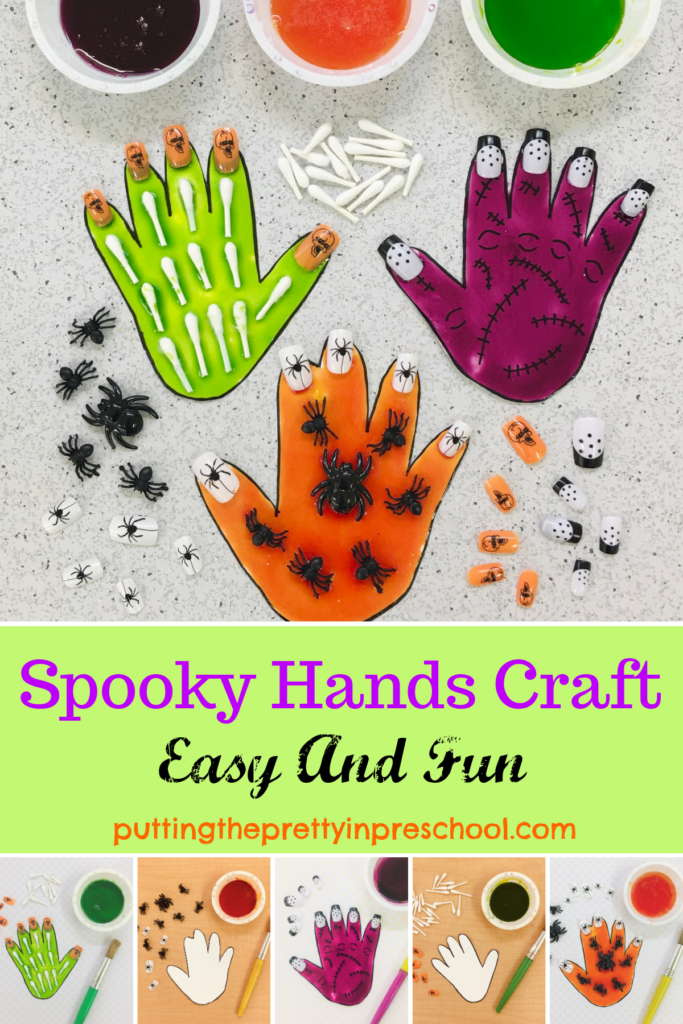 Easy to make spooky hands craft using shiny white corn syrup paint, Q-tips, and nail art. A seasonal, all-ages activity that is sure to stun.