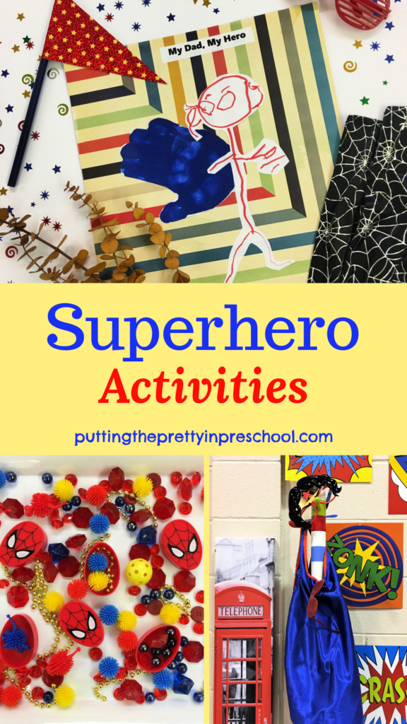 Superhero activities for young children. Art, sensory, math, photo opportunities. and party ideas are included.