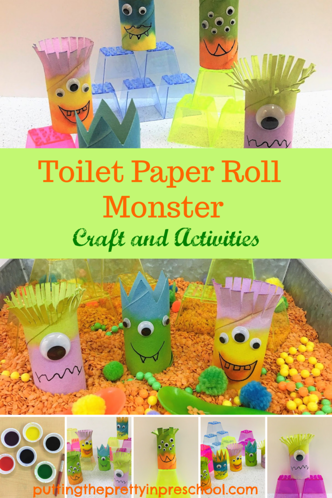 Toilet paper roll monster craft and activities. Easy to make watercolor painted monsters to use with stacking blocks or a red split lentil-based sensory bin.