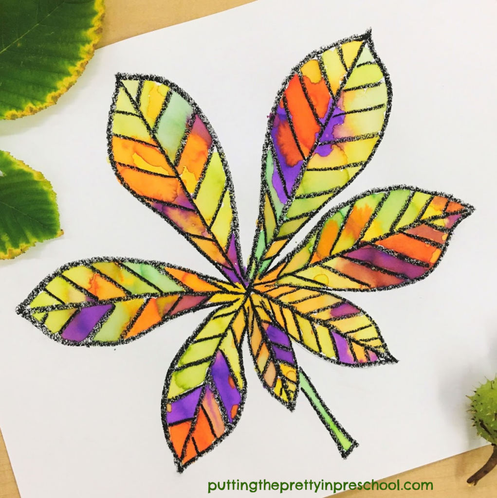 Horse chestnut leaf watercolor resist art project.