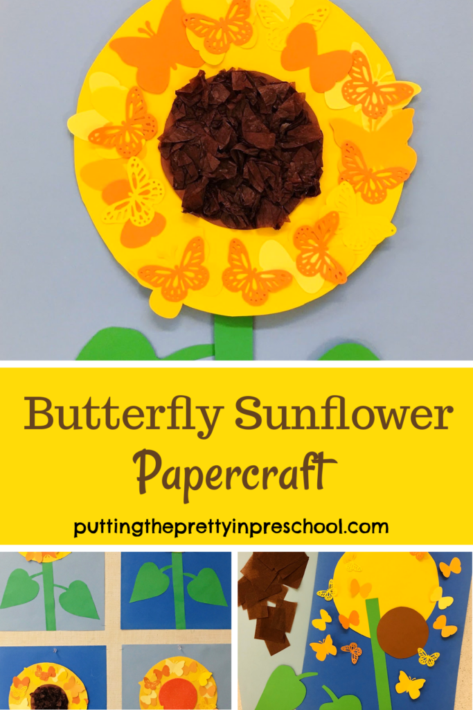 A butterfly sunflower papercraft that is sure to wow. The sunflower head has a scrunched tissue center surrounded by paper butterflies.