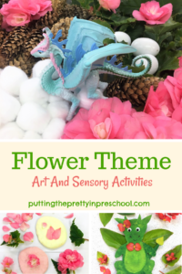 Flower theme art, sensory, and pretend play activities. Early learners will love the winged creatures (dragons, unicorns, and an angel) featured in the theme.