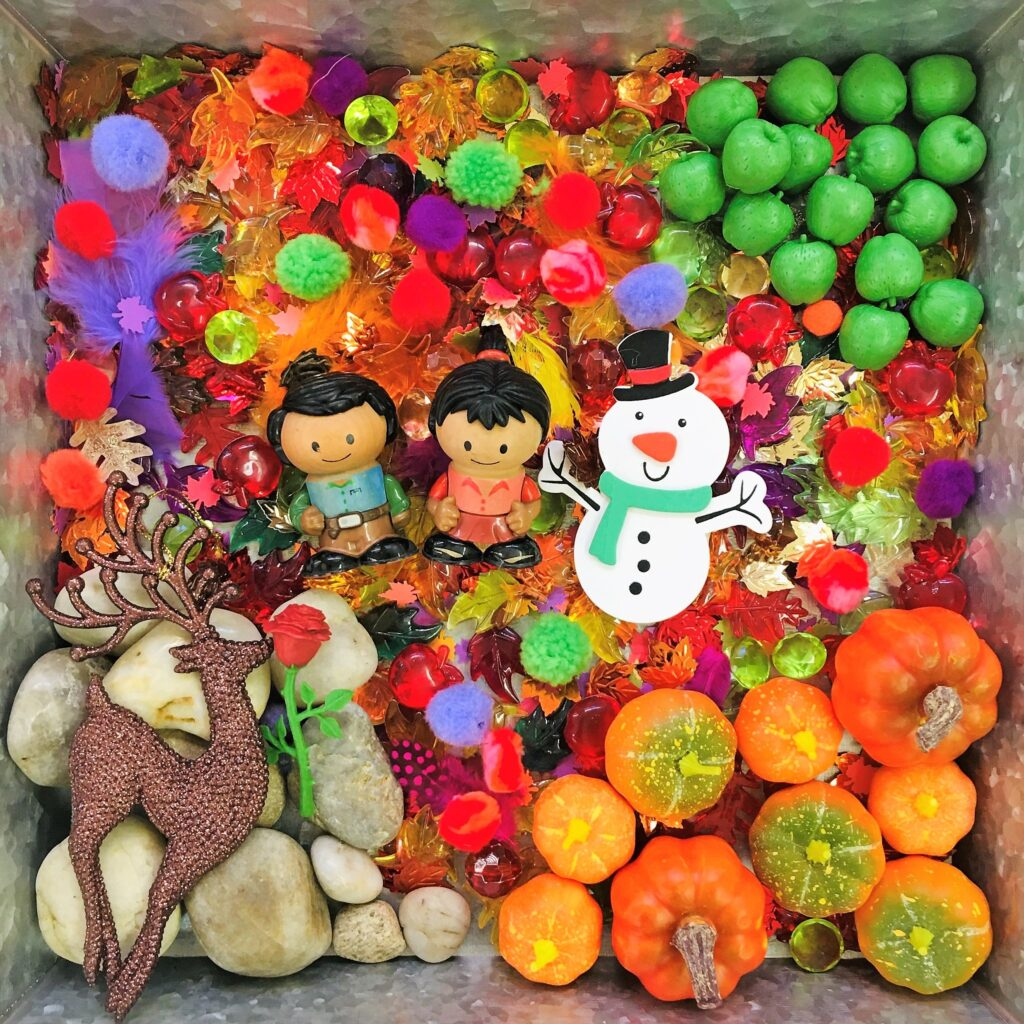"Fall sensory bin inspired by the Frozen 2 based storybook ""We'll Always Have Each Other."""