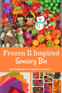 Frozen 2 inspired sensory bin with pumpkins, apples, leaves, rocks, and craft supplies. A reindeer, snowman, and people characters complete the bin.