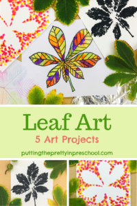 A horse chestnut leaf featured in five easy to do art projects that are suitable for all ages.