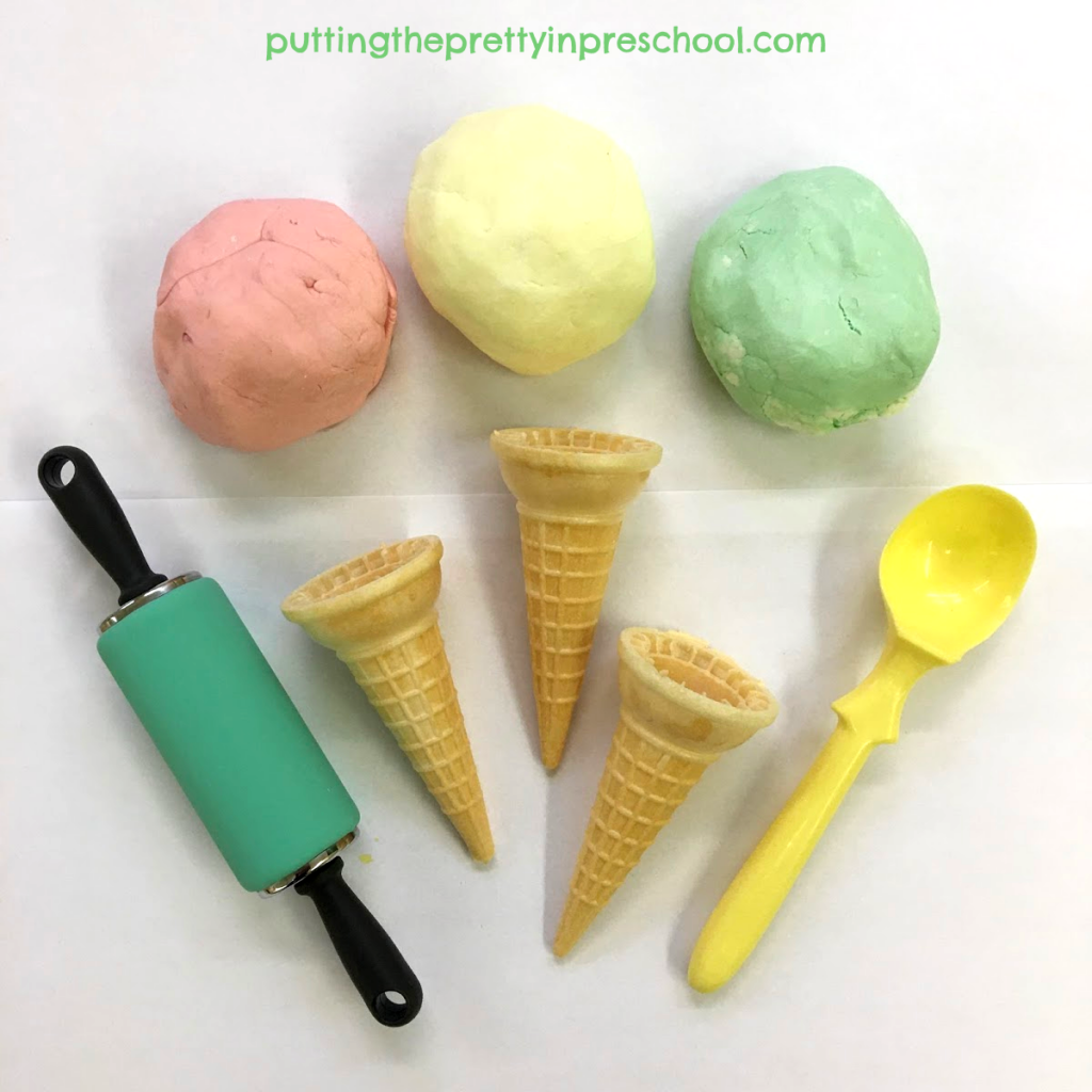 Invitation to create ice cream cones with scented, two-ingredient playdough and accessories.